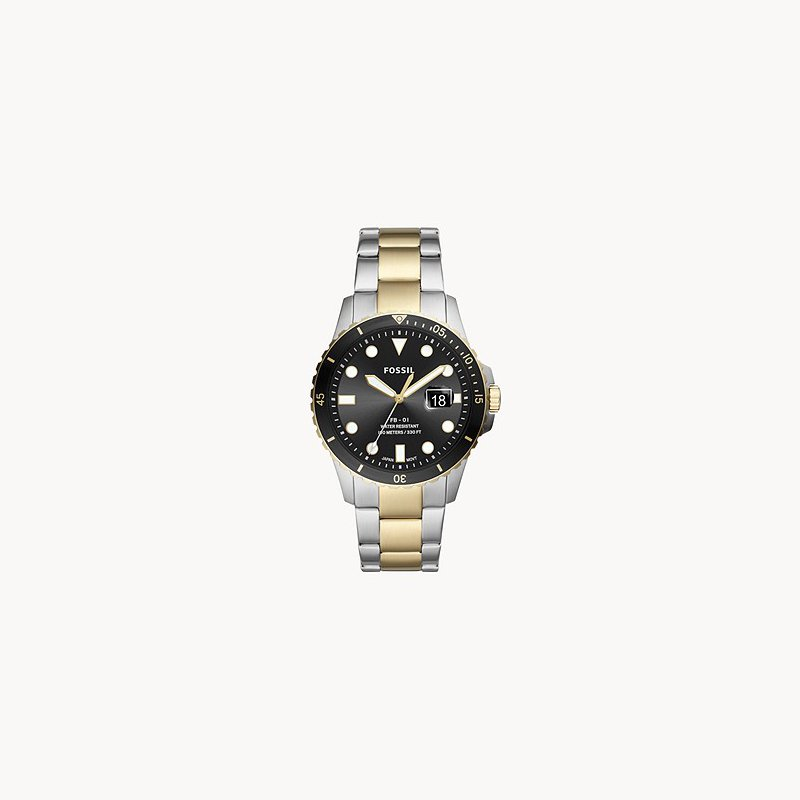 Fossil Sterling Silver Two-Tone Watch with Black face