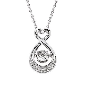 """Sterling Silver Shimmering Diamond Pendant w/ 0.03 ctw, 18"""" Rope Chain"""