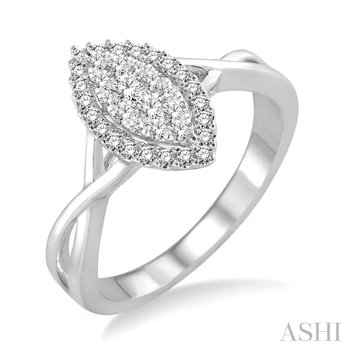 14KW Marquise Shape Round Cut Diamond Lovebright Ring w/ 0.35 ctw Size 6.5