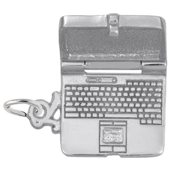 Sterling Silver Opening Laptop Computer Charm