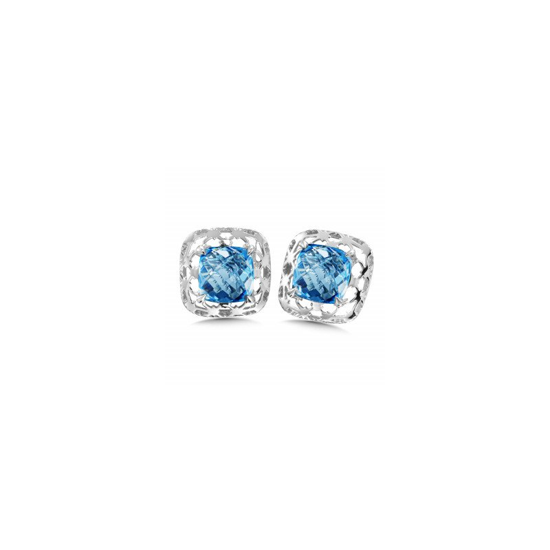 Green Brothers Collection Sterling Silver Blue Topaz Earrings w/ 6 X 6 mm Stones