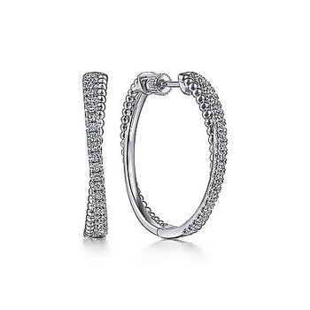 Sterling Silver White Sapphire Twisted Bujukan Classic Hoop Earring