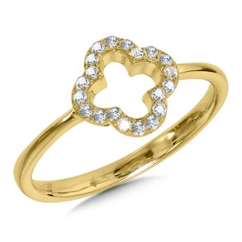 14KY Diamond Clover Shaped Ring w/ 0.14 ctw, Size 7