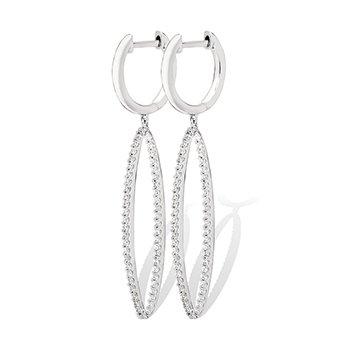 10KW Diamond Dangle Oval Earrings w/ 0.38 ctw