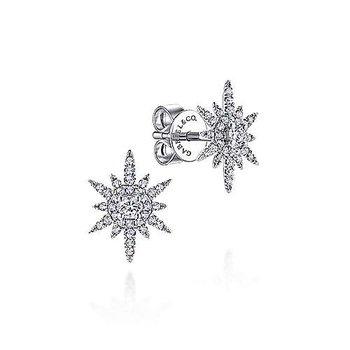 14KW Diamond Elongated Starburst Earrings w/ 0.42 ctw