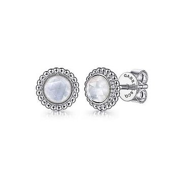Sterling Silver with Round Rock Crystal and Mother  of Pearl Stud Earrings
