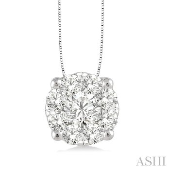 """14K White Gold """"Lovebright"""" Diamond Cluster Pendant set with 0.50 carat total weigh, 18"""" Chain"""