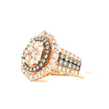 14KRG Chocolate and Creme Brulee Diamond Fashion Ring w/ 2.55 ctw, Size 7