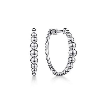 Sterling Silver Beaded Classic Hoop Earring