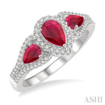 10KW Diamond and Pear Shape Ruby Ring w/ 0.20 ctw