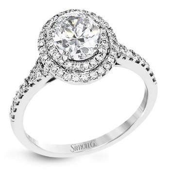 18KW Diamond Engagement Semi-Mount Ring w/ 0.37 ctw, Size 6.5