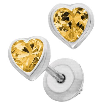 Sterling Silver Heart CZ November Birthstone Earrings