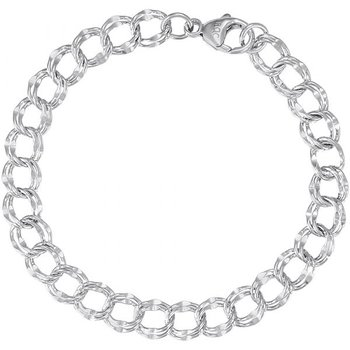 """Sterling Silver Open Link Charm Bracelet 8"""""""