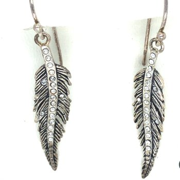 White Bronze & Sterling Silver Light As A Feather Earrings w/ Swarovski Crystals