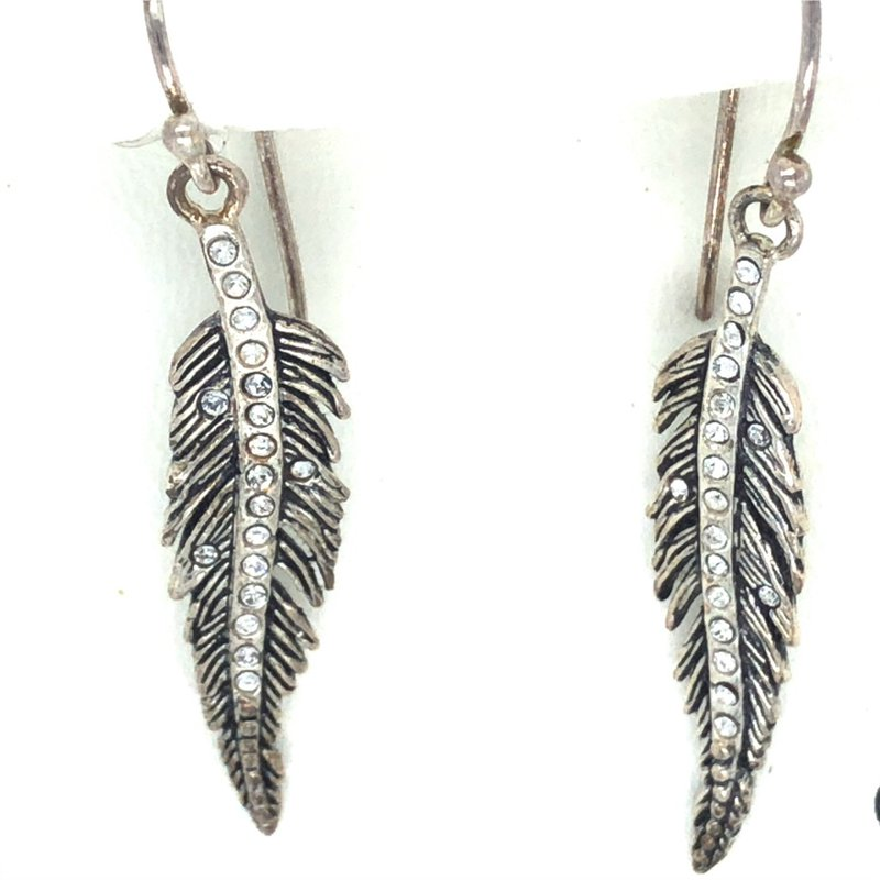 Waxing Poetic White Bronze & Sterling Silver Light As A Feather Earrings w/ Swarovski Crystals