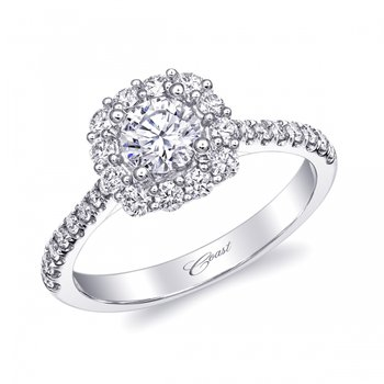 14KW Diamond Engagment Fishtail Ring w/ 0.50 ctw, Size 6.75