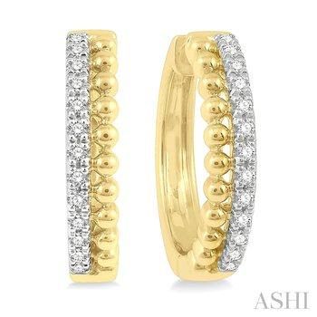 14KY Diamond Round Bead Hoop Earrings w/ 0.25 ctw