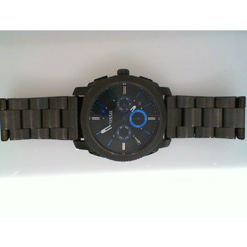 Gray Stainless Steel Watch with Black Face