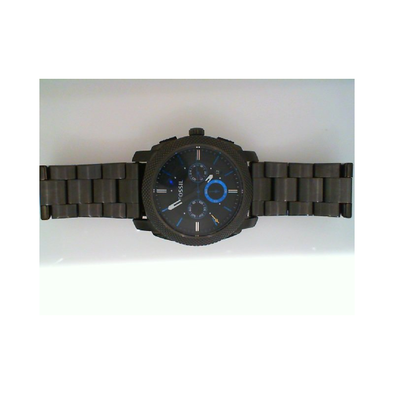 Fossil Gray Stainless Steel Watch with Black Face