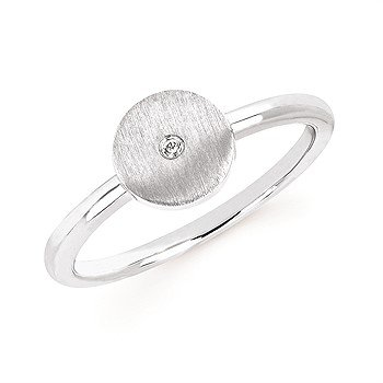 Sterling Silver Diamond Ring w/ 0.11 ctw, Size 7