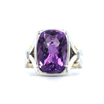 Sterling Silver Amethyst Ring w/ 18KY Accents, Size 7