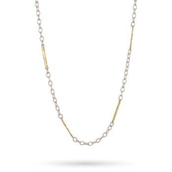 "Sterling Silver & Brass Tripper Chain 32"""