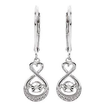 Sterling Silver Shimmering Diamond Dangle Earrings w/ 0.022 ctw