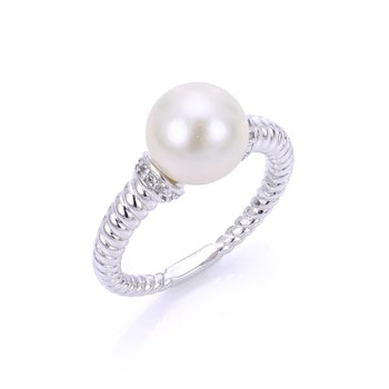 Sterling Silver Fresh Water Cultured Pearl and White Topaz Twisted Band Ring w/ 9.5 -- 10 mm, Size 7