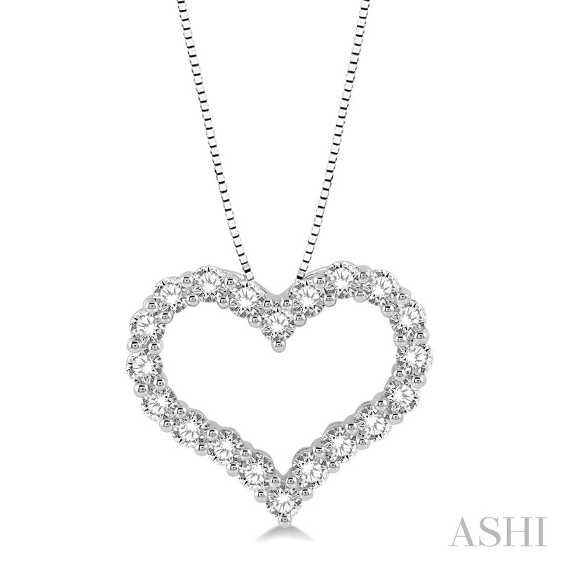 """Green Brothers Collection 14KW Diamond Heart Pendant w/ 1.0 ctw 18"""" Chain"""