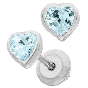 Sterling Silver December CZ Heart Birthstone Earrings