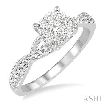 14KW Round Cut Diamond Lovebright Engagement Ring w/ 0.45 ctw Size 6.75