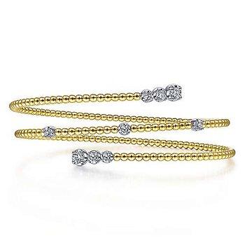 14K Two-Toned Gold Diamond Bangle