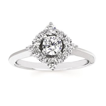 14KW Diamond Celebration Engagement Semi-Mount Ring w/ 0.42 ctw, Size 7