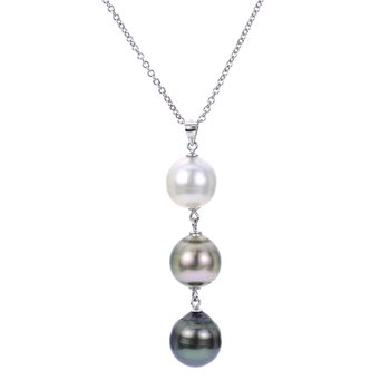 """Sterling Silver and Rhodolite Ringed Drop Multi-Colored Pearl Pendant w/ 12 -- 13 mm Pearls, 18"""" Chain + 2"""" Extentions"""