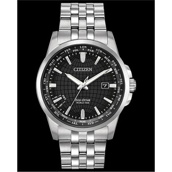 Stainless Steel Eco-Drive World Time Watch w/ Black Face