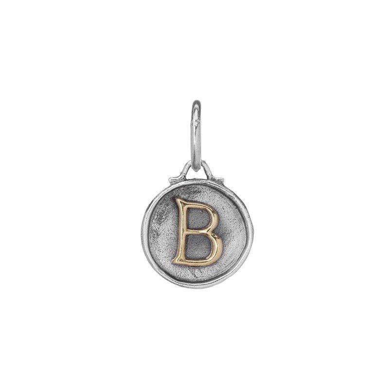 Waxing Poetic Sterling Silver & Brass Letter B Charm