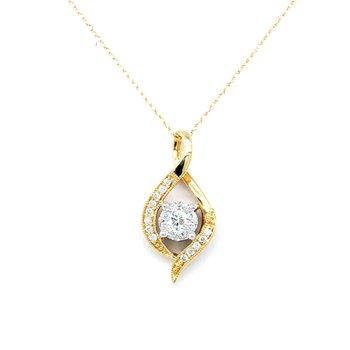 "14KY Diamond Lovebright Pendant w/ 0.20 ctw,18"" Chain"