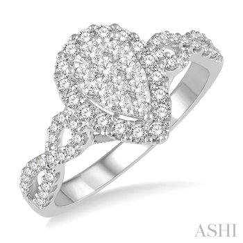 14KY Diamond Pear Shape Cluster Engagement Ring