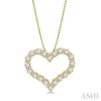 "14KY Diamond Heart Pendant w/ 0.75 ctw 18"" Chain"