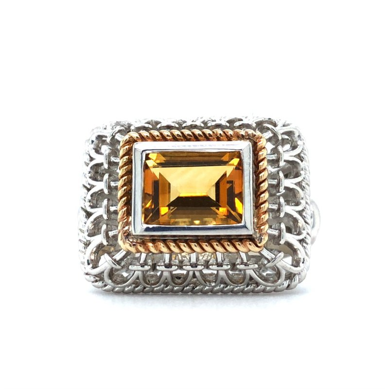 Gabriel & Co. Silver & 18KY Citrine Fashion Ring Size 7