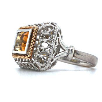 Silver & 18KY Citrine Fashion Ring Size 7