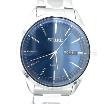 Stainless Steel Solar Watch w/ Blue Face and Date & Day Markers