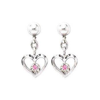 Sterling Silver Open Heart Pink Sapphire Earrings
