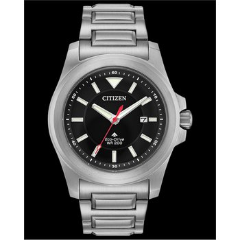 Stainless Steel Citizen Eco-Drive Watch w/ Black Face