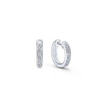 Sterling Silver Pave Diamond Huggie Earrings w/ 0.11 ctw