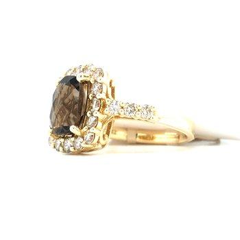 14KY Chocolate Quartz & Nude Diamond Ring w/ 2.74 ctw, Size 7