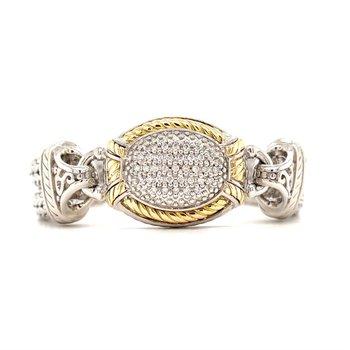Italian Sterling Silver Diamond Bracelet w/ 14KY Accents & 0.33 ctw