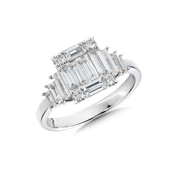 18KW Baguette and Round Diamond Engagement Ring w/ 1.51 ctw Size 7