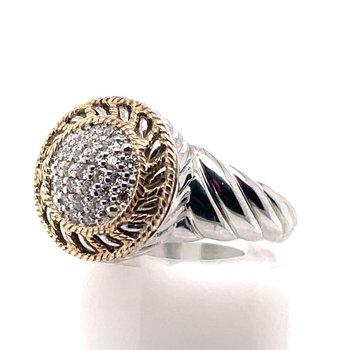 Sterling Silver Diamond Ring w/ 0.25 ctw & 14KY Accents