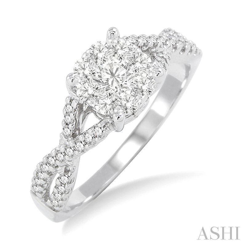 Green Brothers Collection 14KW Lovebright Diamond Engagement Ring with Twisted Band w/ 0.60 ctw, Size 6.75